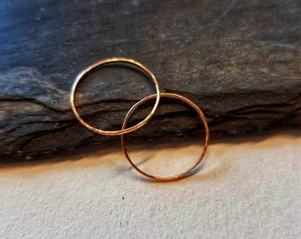 Thin Solid 9ct Rose Gold textured stacking ring | 9ct red gold | stacking fine rose gold ring | 1mm fine | hammereed texture