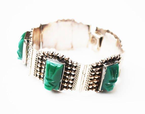 Sterling  Mask face link bracelet - carved Green Onyx - Mexico signed - Silver vintage bangle