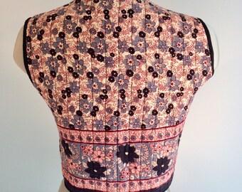Vintage 70s India Cotton Block Print Quilted Hippue Vest S M