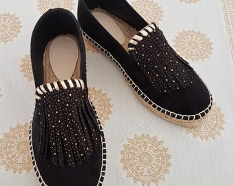 Black suede espadrille shoes, Greek sandals, Vegan shoes, boho shoes, wedges espadrilles, Summer flat shoes, Gift for her, Boho shoes