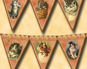 "CAT Vintage Art 4""x5"" PenNants/Flags/Bunting- INSTaNT DOWNLoAD - CHaRMiNG Printable Collage Sheet JPG Digital File-Create Your Own Banner"