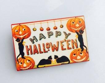 Happy Halloween Jack O Lantern and Black Cat Wooden Brooch Pin Birthday Gift Christmas Stocking Filler Laser Cut