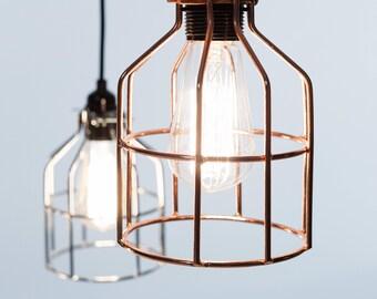 No.15 Industrial Pendant in bronze - Cage Lamp