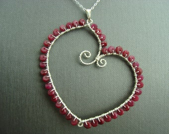 Genuine Ruby Heart Sterling Silver Necklace Valentines Day