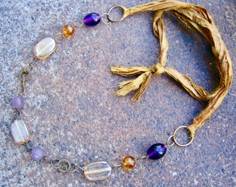 Eco-Friendly Sari Silk Ribbon Statement Necklace - Generosity - Recycled Vintage Brass Hoops and Glass  Beads in Shades of Purple and Gold