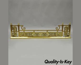 "Antique Ornate Brass Victorian Aesthetic Movement Fireplace Mantle Fender 48""W"