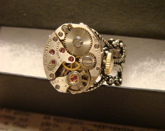 Steampunk Watch Movement Ring with Exposed Gears (2549)
