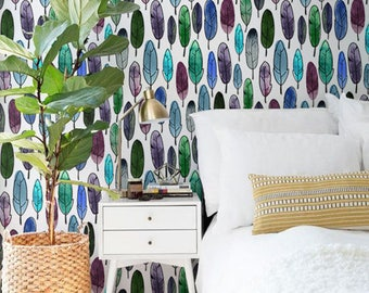 Watercolor feathers removable wallpaper, Watercolor wallpaper, Bohemian decor, BW033