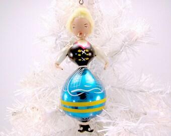 Italian Christmas Ornament Glass Bavarian Girl 1950s Christmas Decoration Bauble