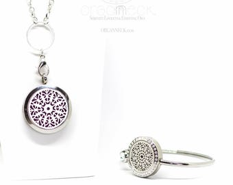 Organneck® 'Radiant Beauty' Aromatherapy Essential Oil Diffuser Bracelet and Necklace Locket Set