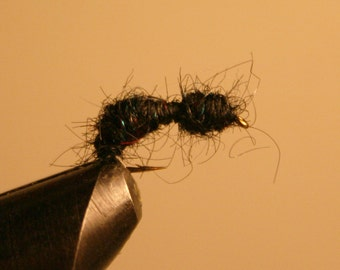 Fly Fishing Flies - Fisherman - Fly Fishing - Fly Fishing Lures- Black Ant - number 10 hook - black fiber - red - blue metallic flecks