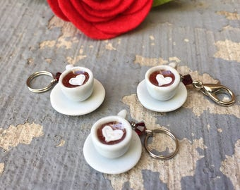 SALE Luv in a Mug: Red Velvet Hot Cocoa Individual Stitch Marker for Knitters & Crocheters