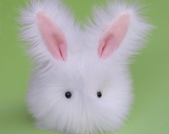 Stuffed Easter Bunny Stuffed Animal Cute Plush Toy Bunny Plushie Cottonball the White Cuddly Snuggly Faux Fur Bunny Rabbit Medium 5x8 Inches