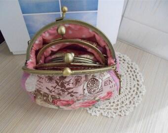 Set of 3 Handmade Purse Kisslock Wallet Clutch