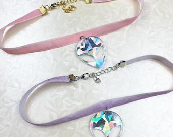 PURPLE or PINK VELVET Alien choker adjustable necklace with tumblr 90s holographic holo hologram alien charm