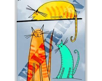 Three Alley Cats - Digital File Only - Animal Print - Nursery Print