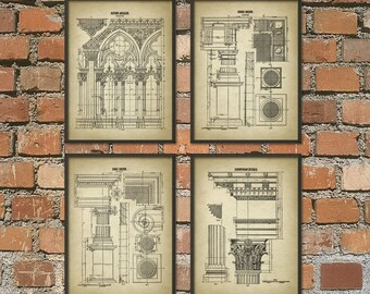 Architectural Orders Print Set of 4 - Architecture Student Gift - Doric Ionic Corynthian Gothic Architecture Art - Architect Gift Set of 4