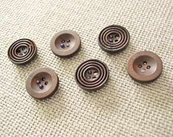 Wood Button Magnets - Extra STRONG Set of 6 Magnets Masculine Mens Brown for Magnetic Bulletin Boards Office Executive Refrigerator Fridge
