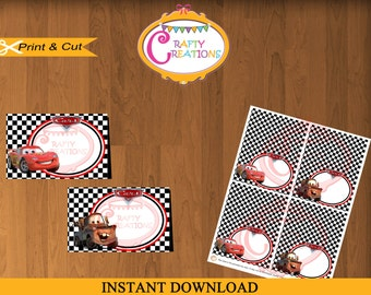 Disney Cars  Food Tent Cards - Cars Food Labels- Disney Cars Place cards- Buffet Labels- Printable Food Labels- Favor Tags- INSTANT DOWNLOAD