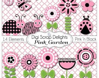 SALE! Pink and Black Ladybugs, Flower, Garden Clip Art for Digital Scrapbooking,  Card Making, Party Printables, Instant Download