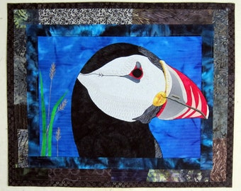 PUFFIN - Art Quilt - Fiber Art - Quilt - Wall Hanging - Textile  - Handmade - Bird - Beak - Feathers - Art - Blue - Black - Wall Art
