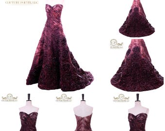 Red Carpet Couture Wood Like Gown