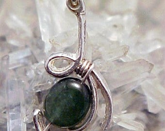 Tourmaline Sterling Silver Wire Art Pendant 007
