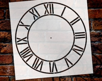 Industrial Roman Numerals Clock Stencil by StudioR12 - For DIY Painting Wood Clocks Small to Extra Large Farmhouse Home Decor - SELECT SIZE
