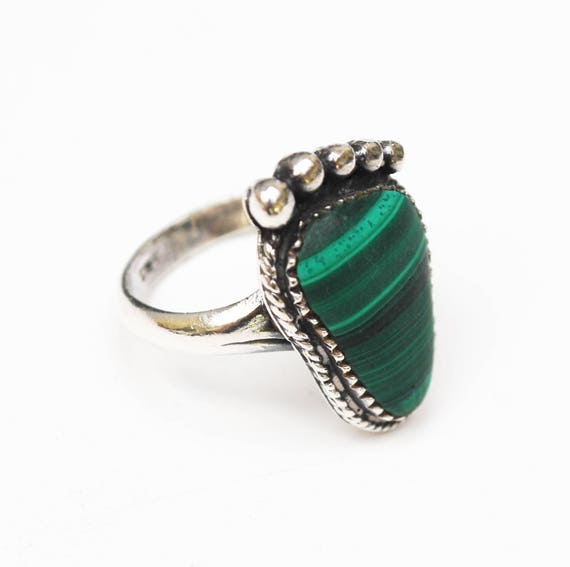 Sterling Malachite Ring  Foot -Green Gemstone  Size 9 ring bare foot ring