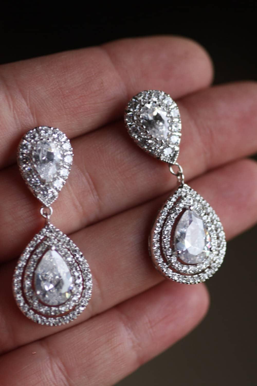 Bridal crystal drop earrings wedding jewelry swarovski zoom arubaitofo Choice Image