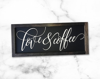 """MORE COLORS & SIZES 18x8 """"Love and Coffee"""" / hand painted / wood sign / farmhouse style / rustic"""