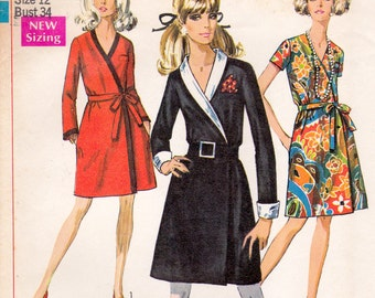 Vintage '60s sewing pattern, Simplicity 7799, wrap dress, size 12, neatly cut