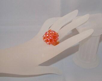 Swarovski crystal hedgehog ring sun ab2x