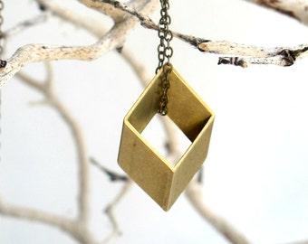 3d Rhombus Vintage Cut Brass - Geometric Modern Necklace- Rhombus Golden Necklace - Modern Geometric Pendant - Diamond Shaped Necklace