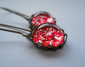 Red earrings, glass dome jewelry, antique brass ear wires, dangle earrings, red glitter earrings, sparkle earrings