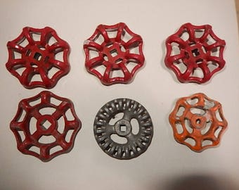 Six Aluminum valve handles.  Approximately 2 1/2 inches round. Steampunk, DIY.  Used, but sound.