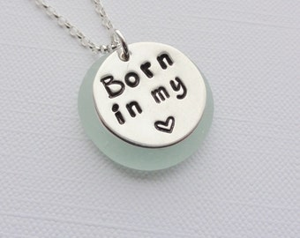 Sterling Silver Born in My Heart Necklace - ADOPTION - FOSTER