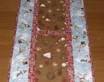Christmas Quilted Table Runner, Table Runner Quilt Christmas, Snowman Table Runner Quilt, Christmas Snowman, Christmas Table Runner