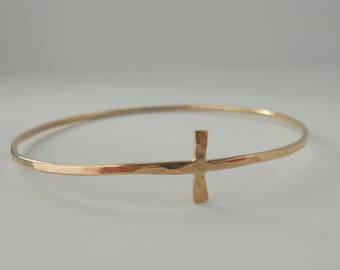 Gold Cross Bangle Bracelet - Gold Filled Bangle
