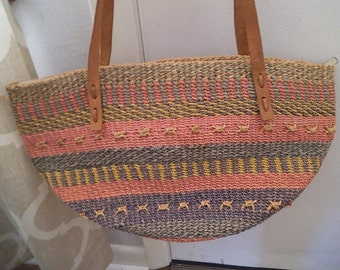 Vintage Woven Jute Market tote ~ Shoulder tote with leather