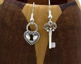 Earrings heart padlock and key, clip earrings, heart and key - heart padlock and key, heart and key clip Earrings