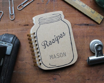 HARD COVER - Mason Jar Shaped Recipe Book- with 20 lined recipe cards inside