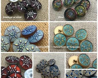 CHOICE of Czech STAR Button, Choose Color, 18mm Czech Glass Button, Czech Glass Buttons, Glass Buttons, Czech Glass Beads, Czech Glass