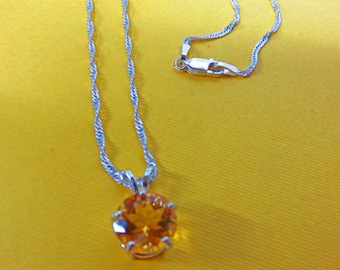 Citrine Necklace - Natural 10mm Yellow/Gold Citrine and Sterling Silver Necklace - Birthstone Necklace