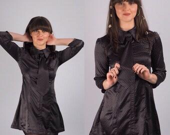 60's black and white satin polkadot shirt and tie mini dress