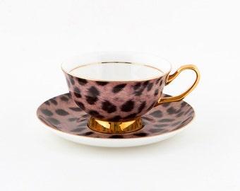Cougar Print Teacup and Saucer – 250mL