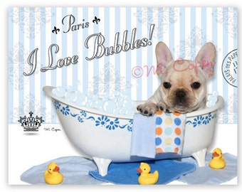 I Love Bubbles - Fawn French Bulldog  BATH Greeting Cards, 4 Pack