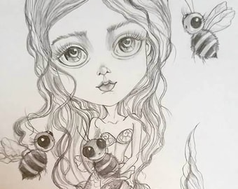 Original Art One Of A Kind Mermay and the Bees Pencil Drawing-Leslie Mehl Art