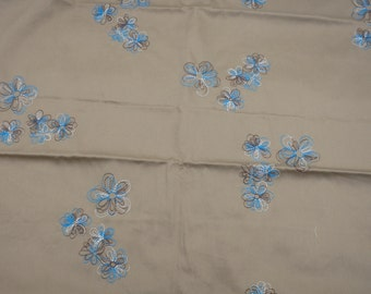 """Embroidered Cotton Broadcloth, 44"""" x 36"""", Brown & Turquoise Flowers on Tan Fabric"""