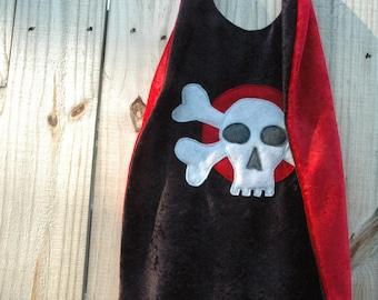 Pirate Cape BLACK and RED - Includes Eyepatch - Super Cape - Birthday Cape - Super Hero Cape - Halloween Costume - Kid Costume